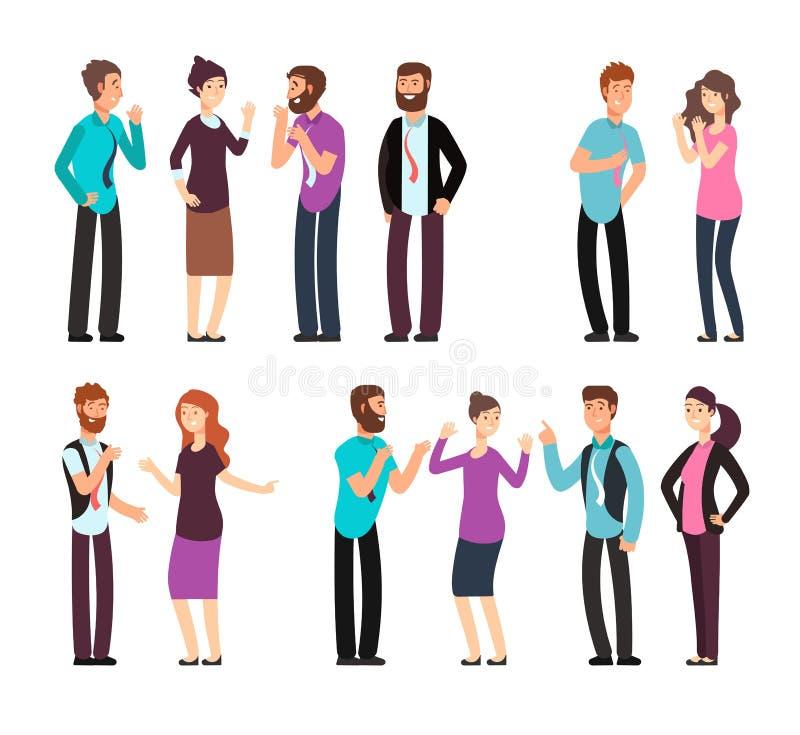 商人、妇女和人们有交谈,讨论,谈话和听 动画片被设置的传染媒介字符 库存例证