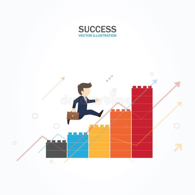 商人上升的图表,事业成功 向量例证