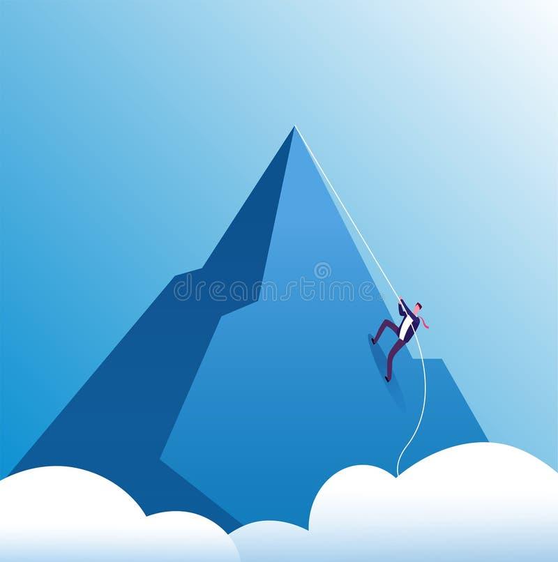商人上升的山 挑战、坚持不懈和个人成长,在事业的努力 企业刺激传染媒介 向量例证