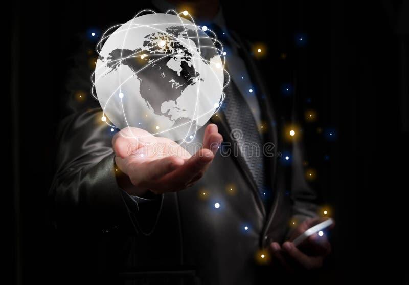 商人与全球化概念,展示北部Ameri一起使用 免版税库存照片