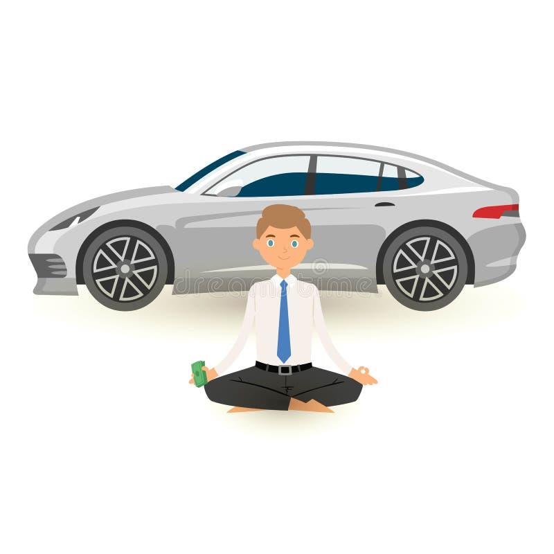 商人与后边盒的瑜伽凝思美元和在手中昂贵的汽车 办公室在繁忙被注重的工作放松 皇族释放例证