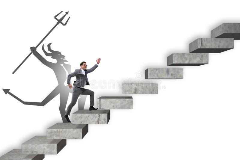 商人与密友上升的事业梯子 图库摄影