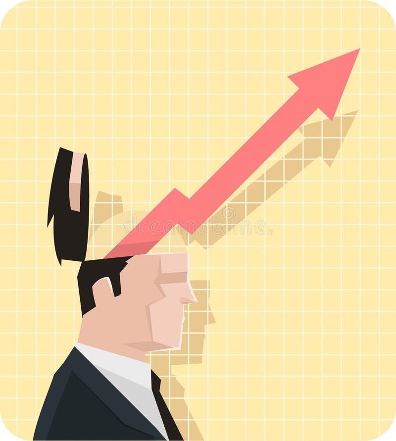商人与扩展箭头的经济图 向量例证