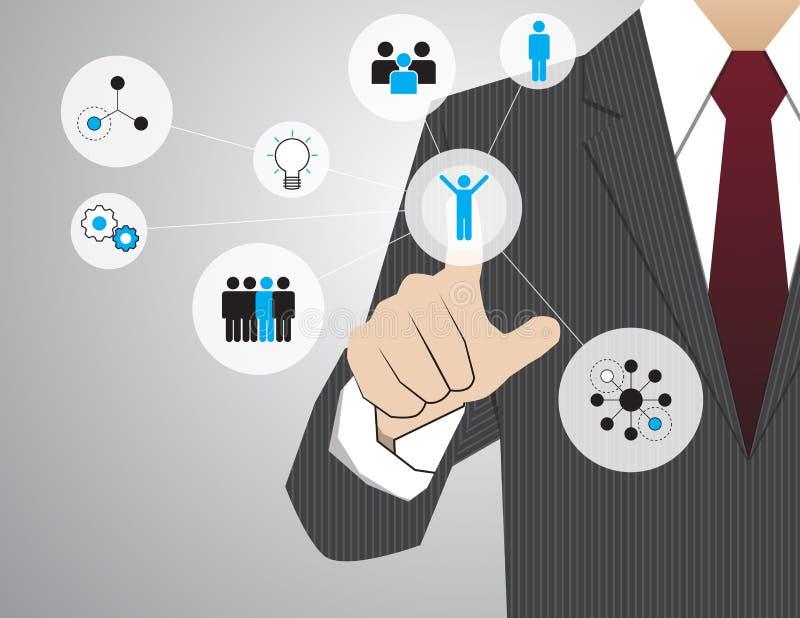 商人与现代真正技术,手touchin一起使用 向量例证