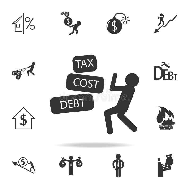 商人与税费用债务象战斗 详细的套财务、银行业务和赢利元素象 优质质量图形设计 库存例证