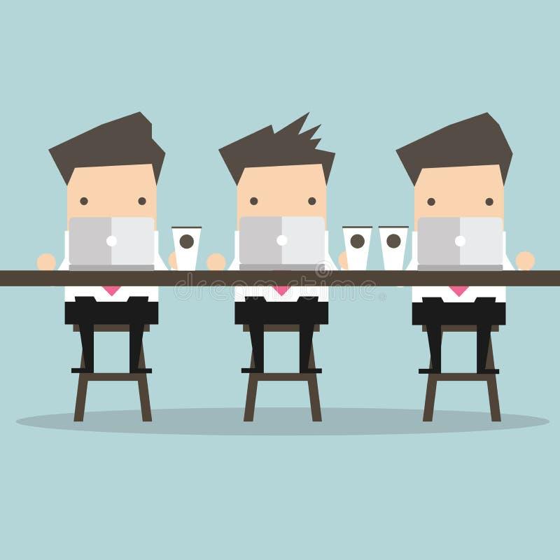 商人与膝上型计算机一起使用在咖啡馆 库存例证