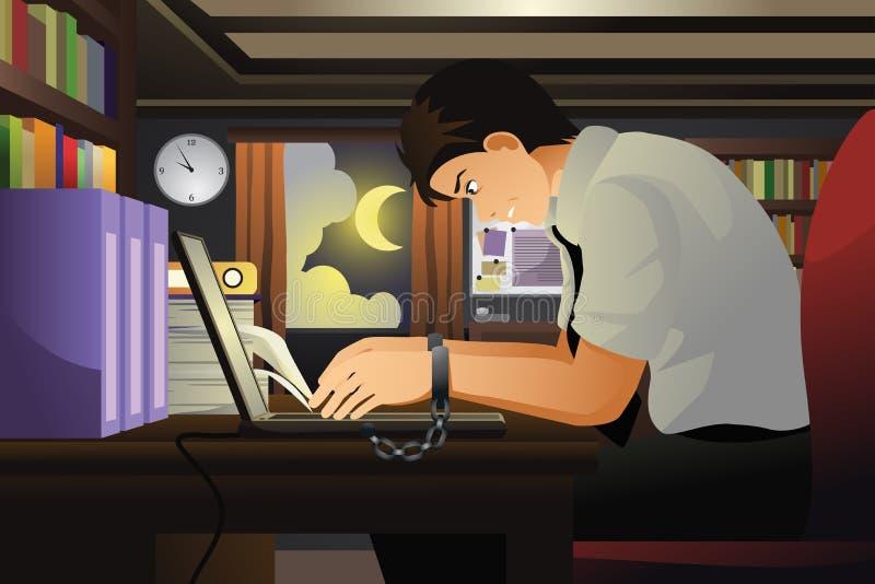 商人与他的手一起使用被绑住对膝上型计算机 向量例证