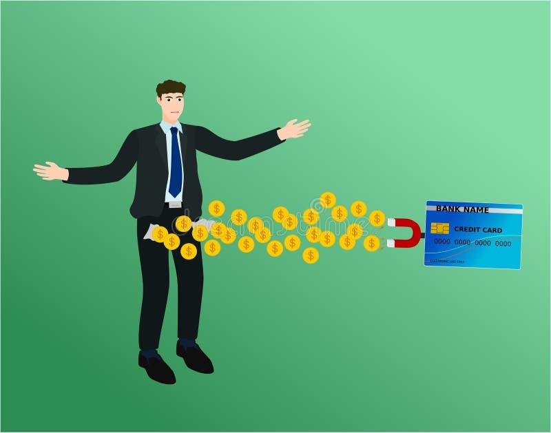 商人丢失了与信用卡的钱 向量例证