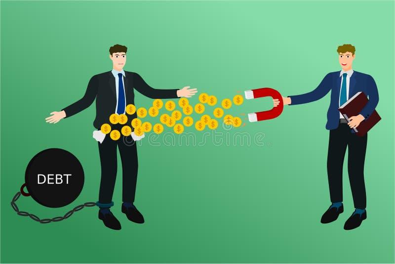 商人丢失了与债权人磁铁硬币的钱 库存例证