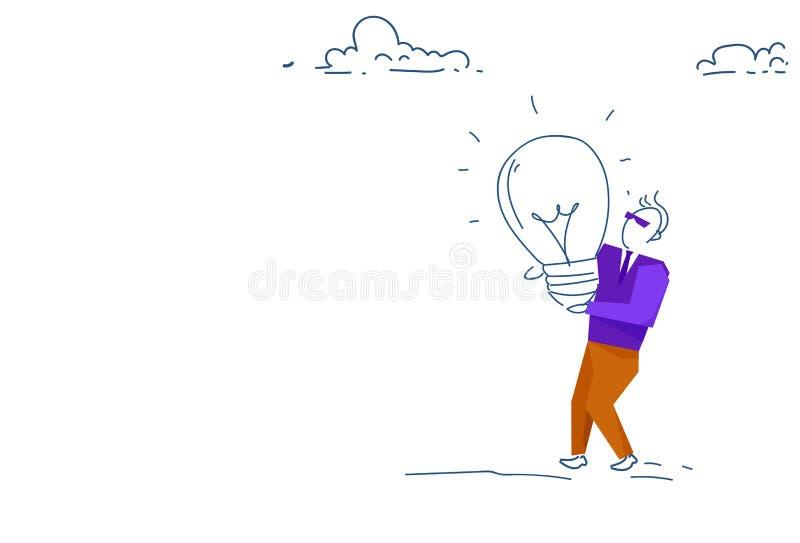 商人举行光灯新的想法创新概念领导勤勉处理剪影乱画水平的横幅 向量例证
