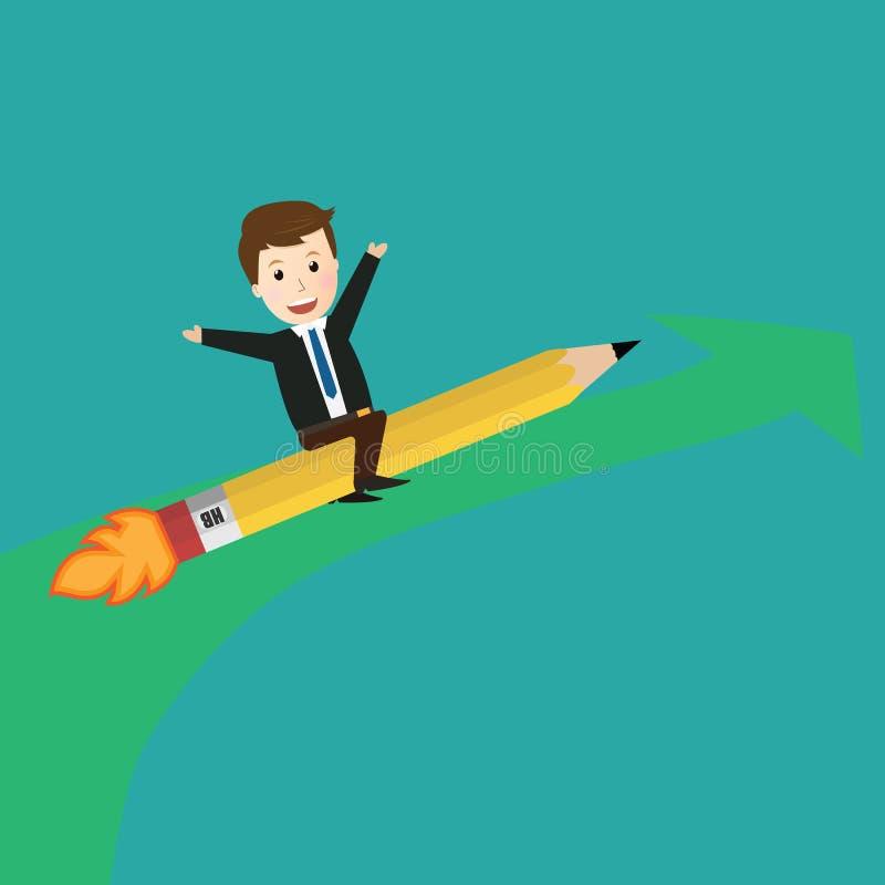商人乘驾铅笔火箭传染媒介  库存例证