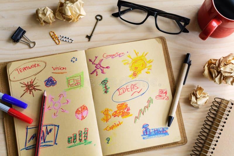 商人书桌办公室营销计划者和战略想法 免版税库存图片