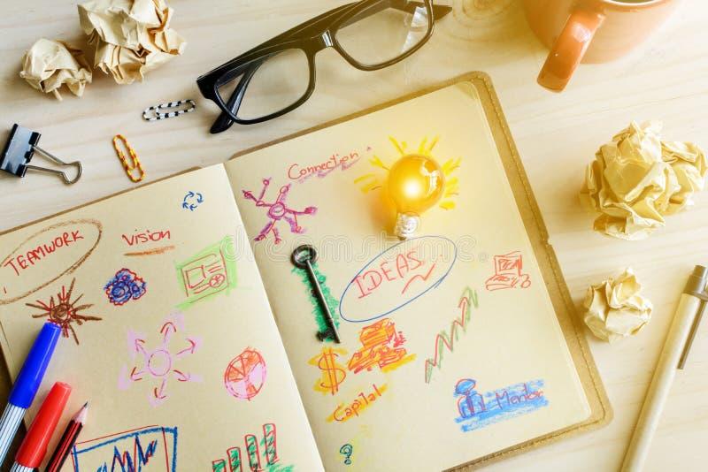 商人书桌办公室营销计划者和战略想法 库存照片