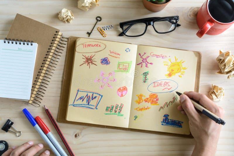商人书桌办公室营销计划者和战略 库存照片
