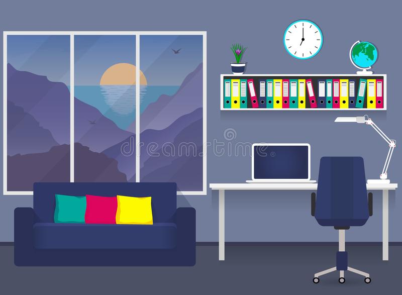 商人书桌的家庭工作场所,膝上型计算机,台灯,与文件夹的架子文件的,椅子,壁钟,地球 沙发,胜利 库存例证
