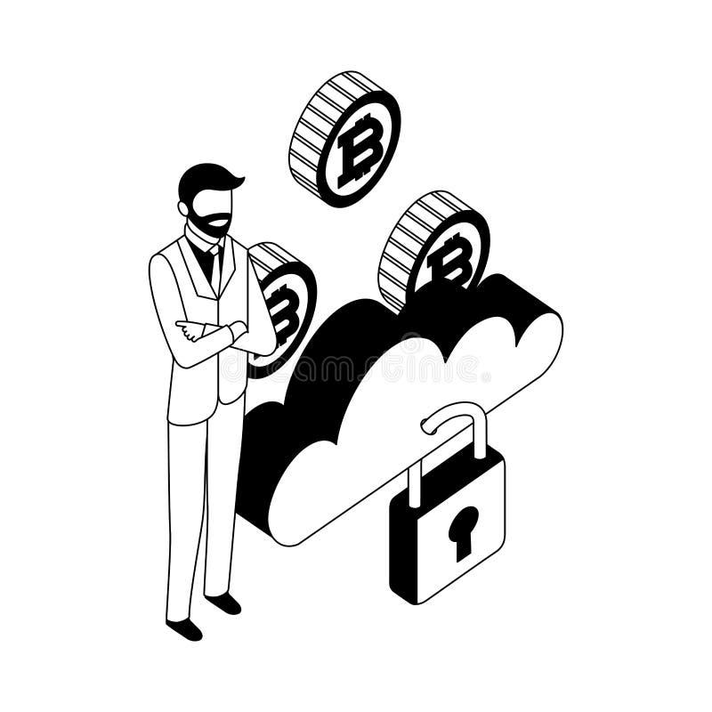 商人云彩计算的存贮安全硬币 向量例证