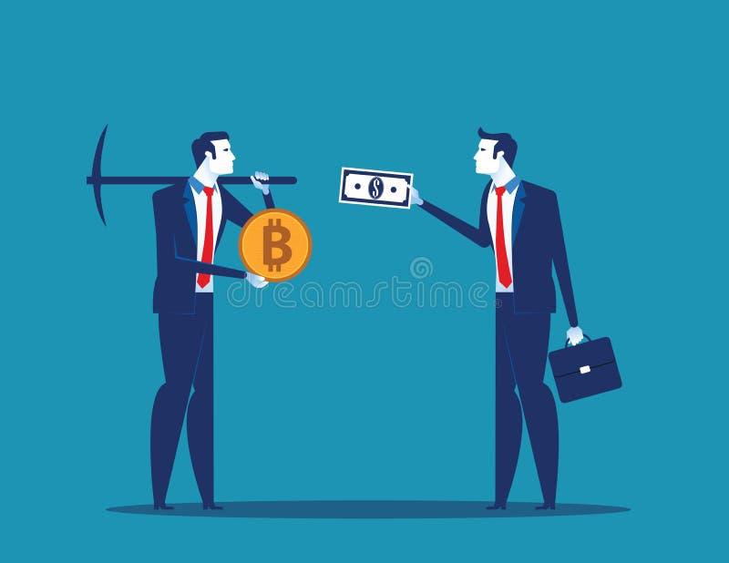 商人交换bitcoin cryptocurrency开采 概念企业数字货币传染媒介例证 库存例证