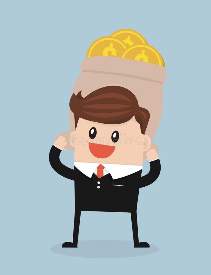 商人传染媒介动画片运载巨大的金钱袋子,平的设计 向量例证