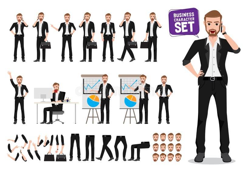 商人传染媒介字符集 男性企业人卡通人物创作 向量例证