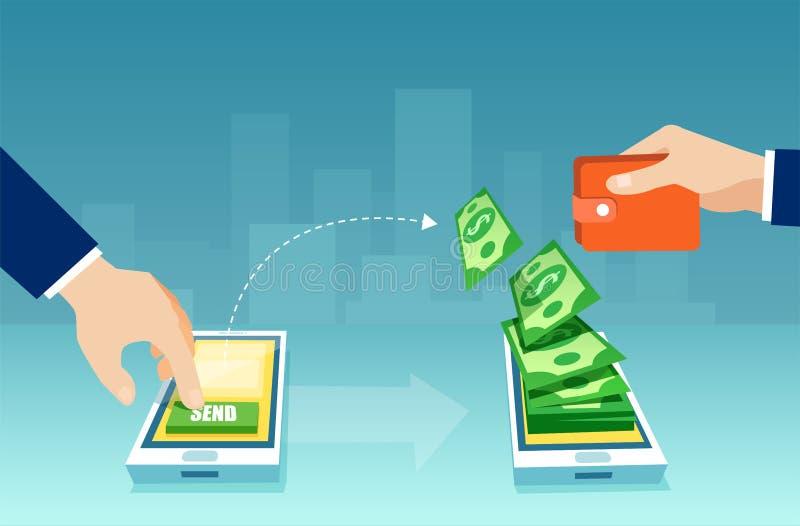 商人传染媒介送和收到金钱的使用手机应用程序 库存例证