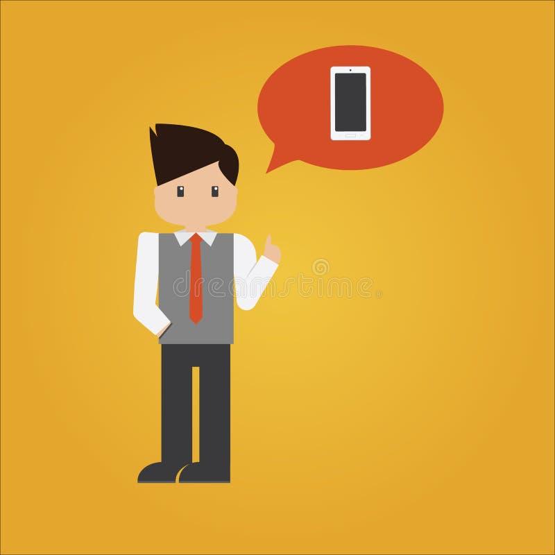 商人传染媒介与巧妙的电话的在泡影 库存例证