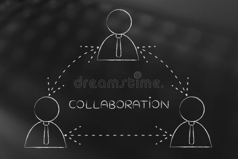 商人作为队或分享反馈的小组工作 库存例证