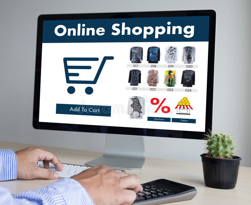 商人使用技术电子商务互联网全球性Marketi 库存图片