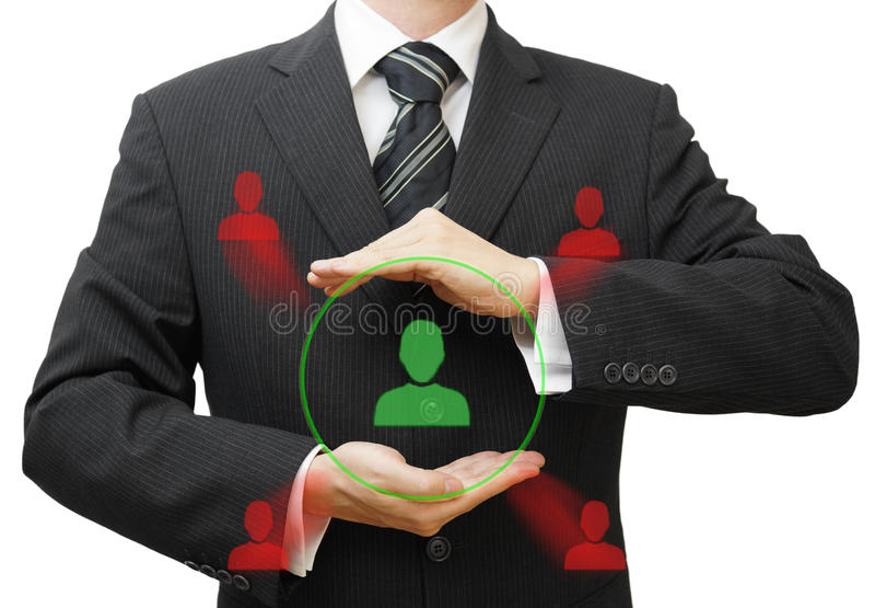 商人保护的顾客或人力资源从competi 库存图片