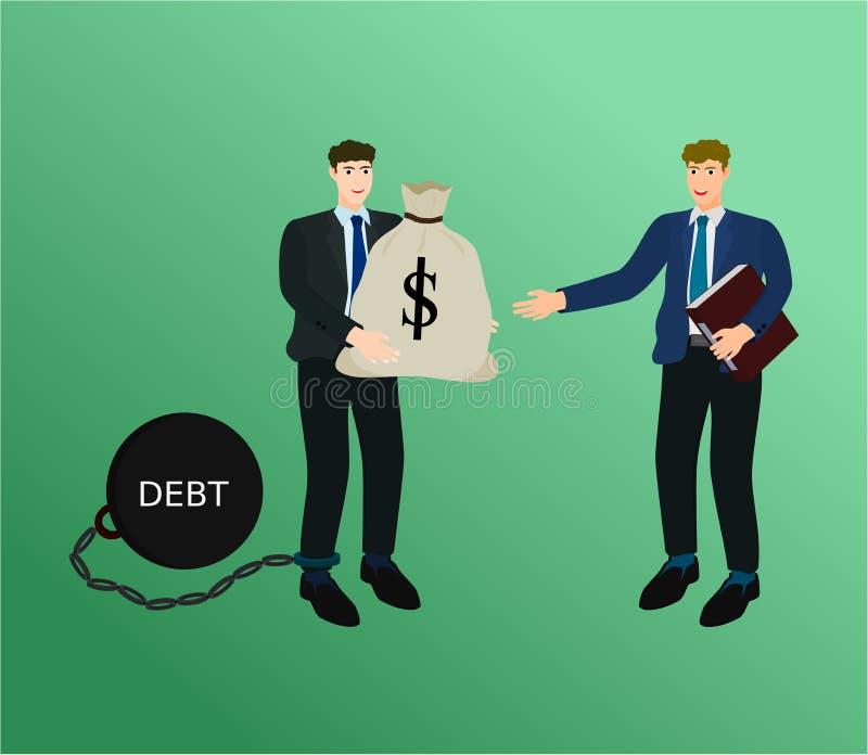 商人债权人概念的薪水债务 库存例证