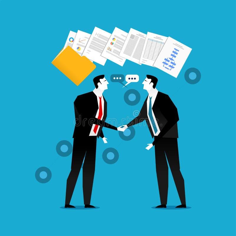 商人做与文件合同例证的握手 企业合作,协议或者成交 库存例证