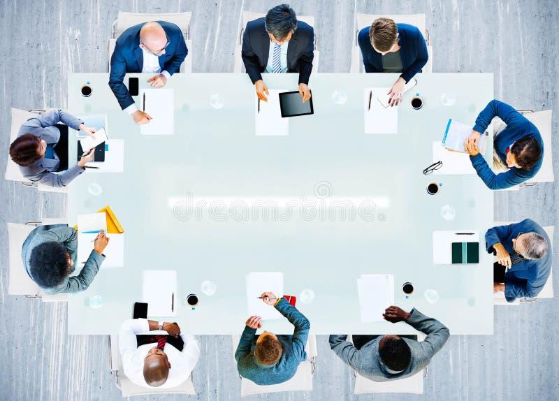 商人公司工作的办公室队专家Conce 免版税图库摄影