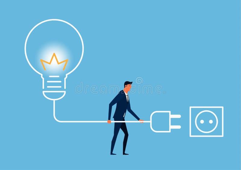 商人再充电创造性 力量创造性的想法 能源和次幂 库存例证