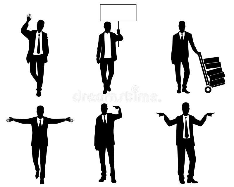 商人剪影在行动的 向量例证