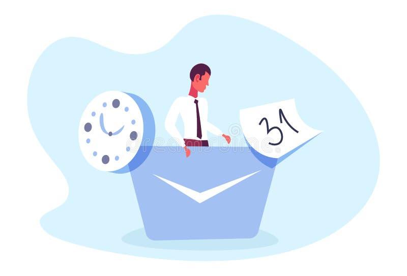 商人办公室工作者时间安排概念商人项目负责人日历最后期限男性漫画人物 库存例证