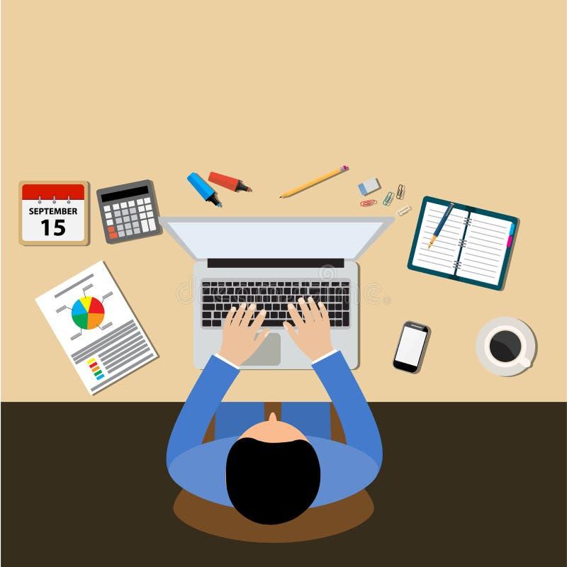 商人办公桌工作场所概念 库存例证