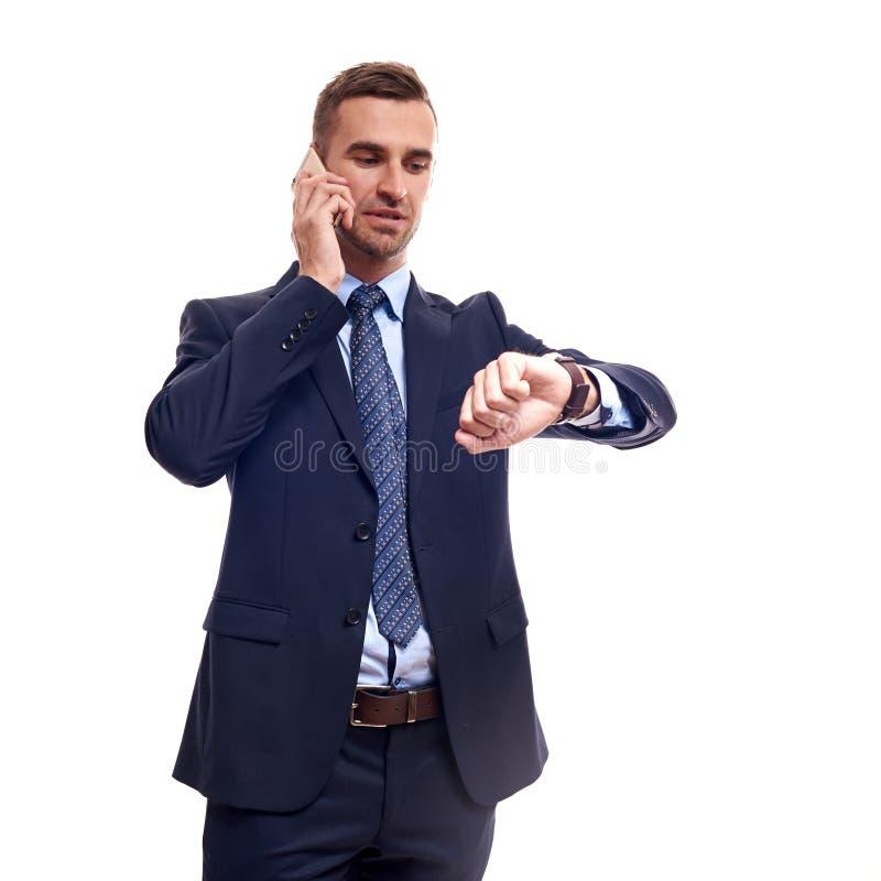 商人半身画象用横渡的手,隔绝在白色背景 库存照片