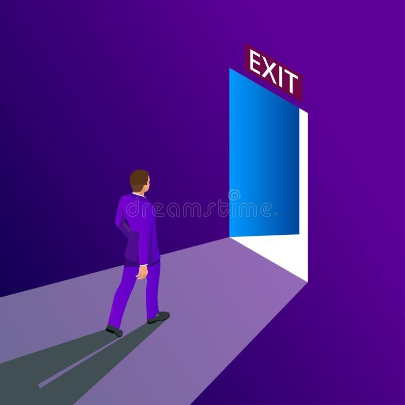 商人去的出口标志,紧急状态 企业解答或撤离战略概念 留下办公楼 皇族释放例证
