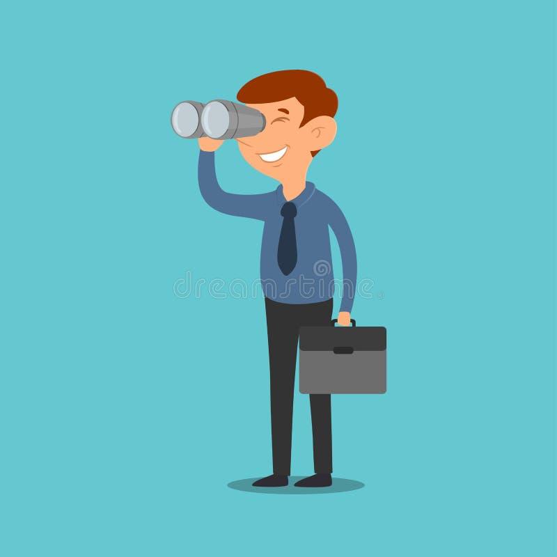 商人双筒望远镜视觉,领导计划概念字符设计传染媒介 向量例证