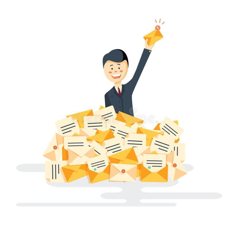 商人发现了在堆的正确的信件电子邮件 向量例证