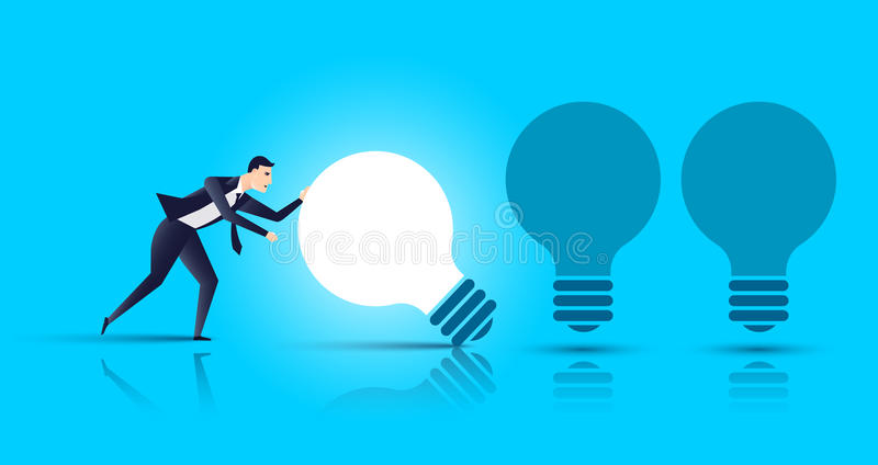 商人发现了正确的想法并且得到她,最佳的想法企业概念 也corel凹道例证向量 向量例证