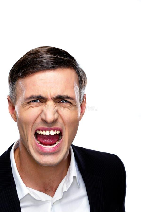 商人叫喊的画象 免版税图库摄影