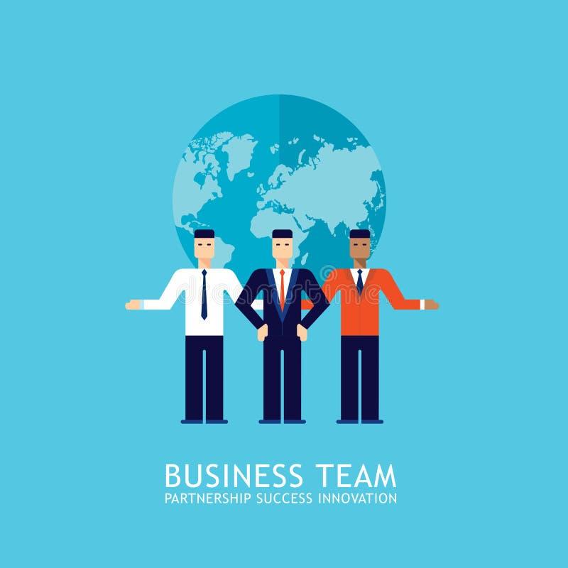 商人合作配合合作成功的企业队概念平的设计 库存例证