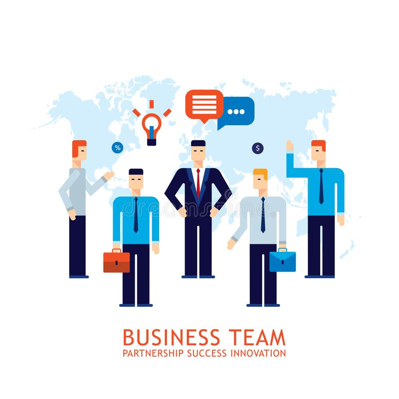 商人合作配合合作成功的企业队概念平的设计 向量例证