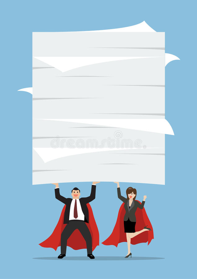 商人和举很多文件的妇女超级英雄 皇族释放例证