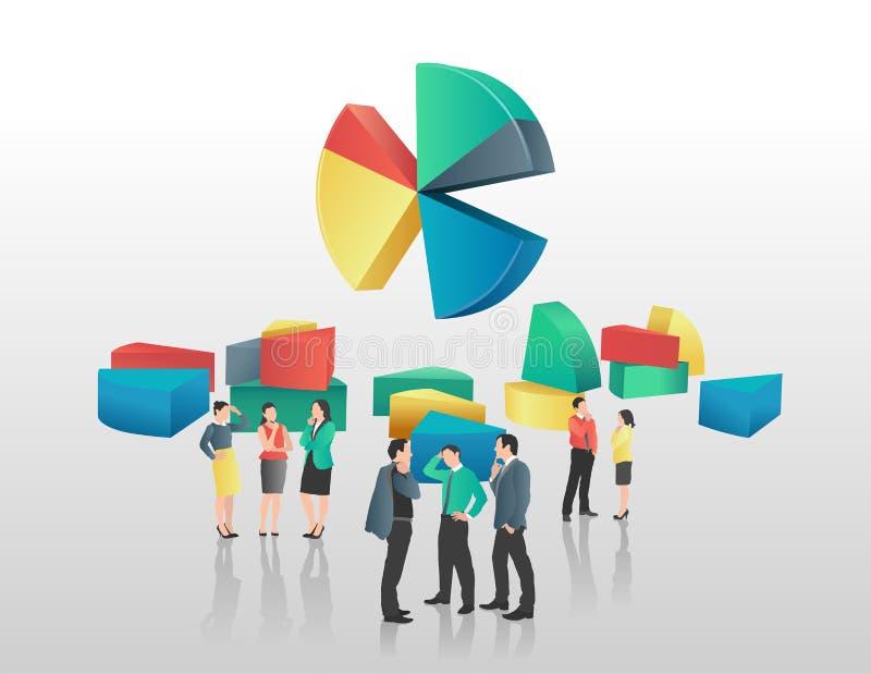 商人和五颜六色的圆形统计图表 库存例证