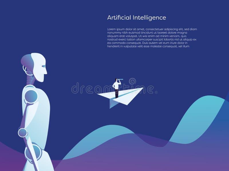 商人和人工智能机器人未来技术合作传染媒介概念 在纸飞机的商人 库存例证
