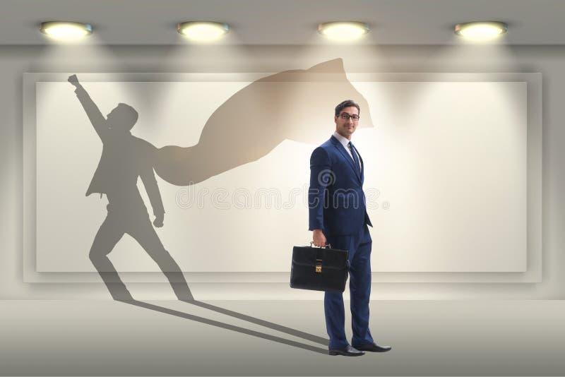 商人和他的阴影在企业概念 库存图片