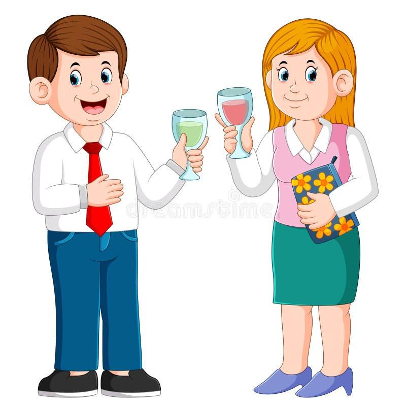 商人和女商人有饮料的 库存例证