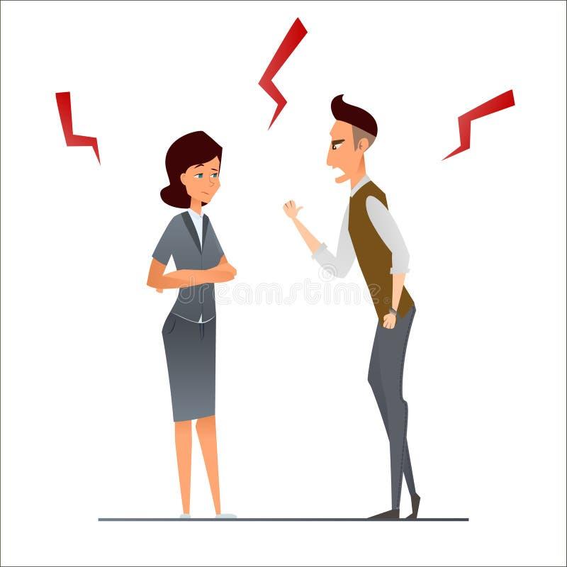 商人和女实业家争论 恼怒粗鲁的上司,叫喊和争吵 工作冲突 人力资源问题 Illustratio 向量例证