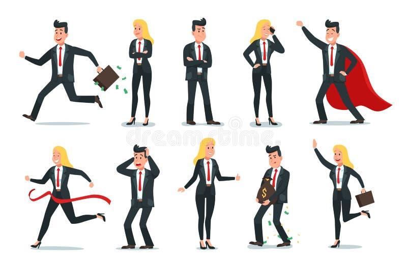 商人和女实业家字符 办公室队工作者、成功商人和雇员工作者传染媒介 皇族释放例证
